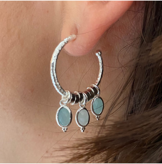 Hoop earrings with Amazonite pendants