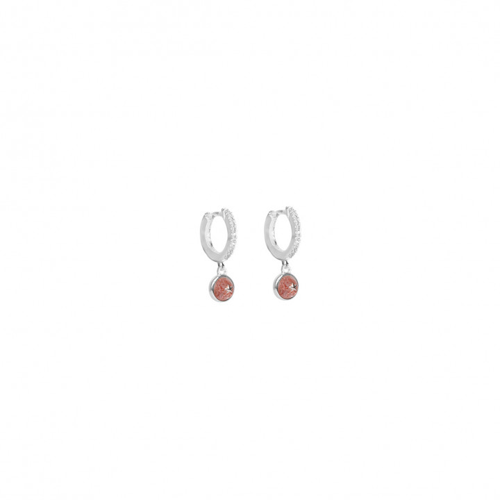 925 Silver hoop earrings with zircons & Agate small star medal