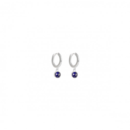 Hoop earrings with Lapis Lazuli & small star medal
