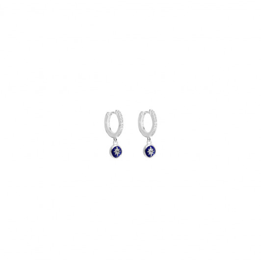 Hoop earrings with zircons & Lapis Lazuli star medal