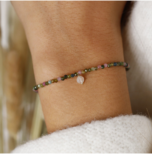 Silky thread bracelet with Tourmaline beads & Moonstone drop