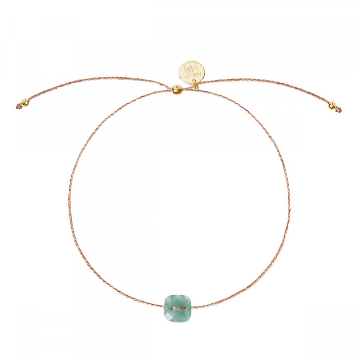 Gold-plated silky thread bracelet with Jade stone