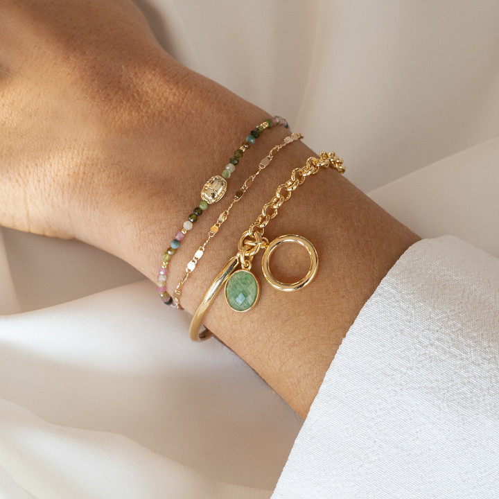Gold-plated tie bracelet with tourmaline gemstones beads & beetle
