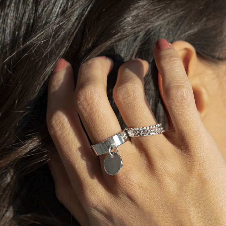 925 Silver serrated band ring