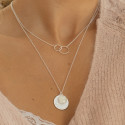 925 Silver Maya medal & moonstone chain necklace