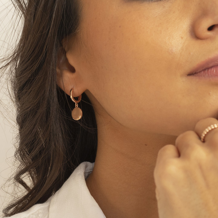 Rose gold-plated hoop earrings with medal