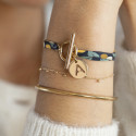 Gold-plated liberty bracelet with T-toggle & hollowed initial medal