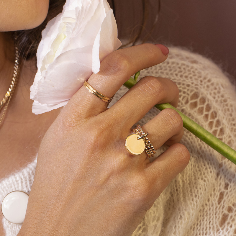 Gold-plated hammered band ring