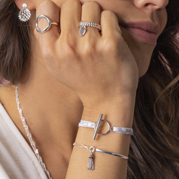 925 Silver two-row beaded ring with small curved medal