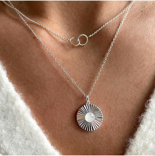 Striated rings & Moonstone necklace set