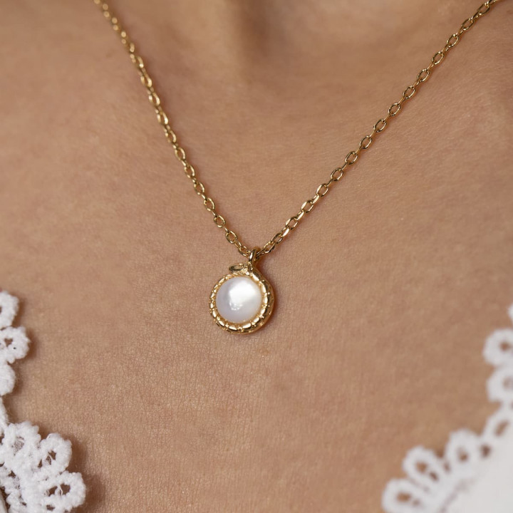 Gold-plated chain necklace with moonstone & snake
