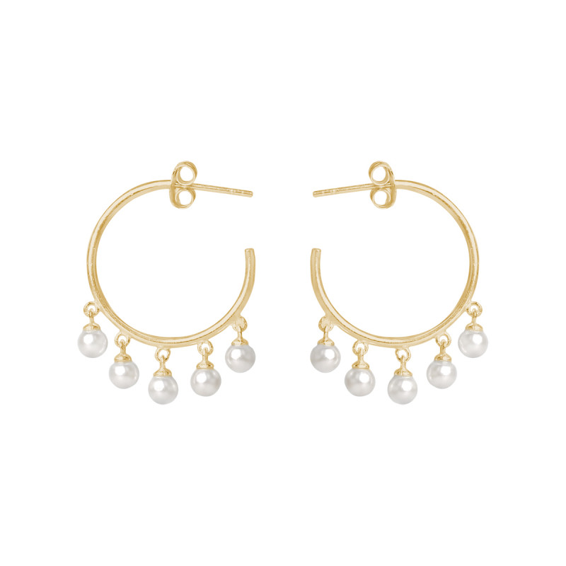 Gold-plated hoop earrings with 5 pearl beads