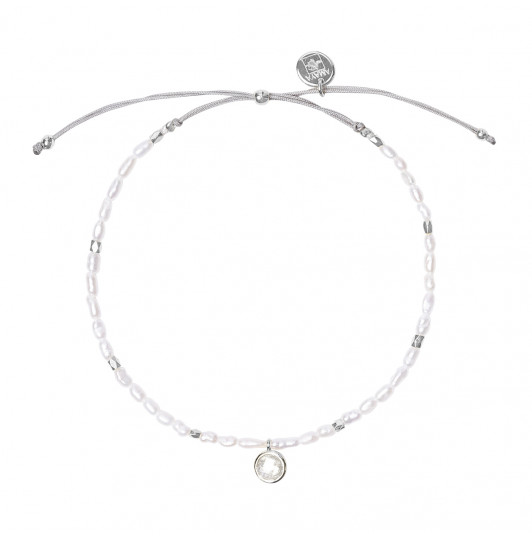 Silky thread bracelet with nacre beads & Moonstone medal