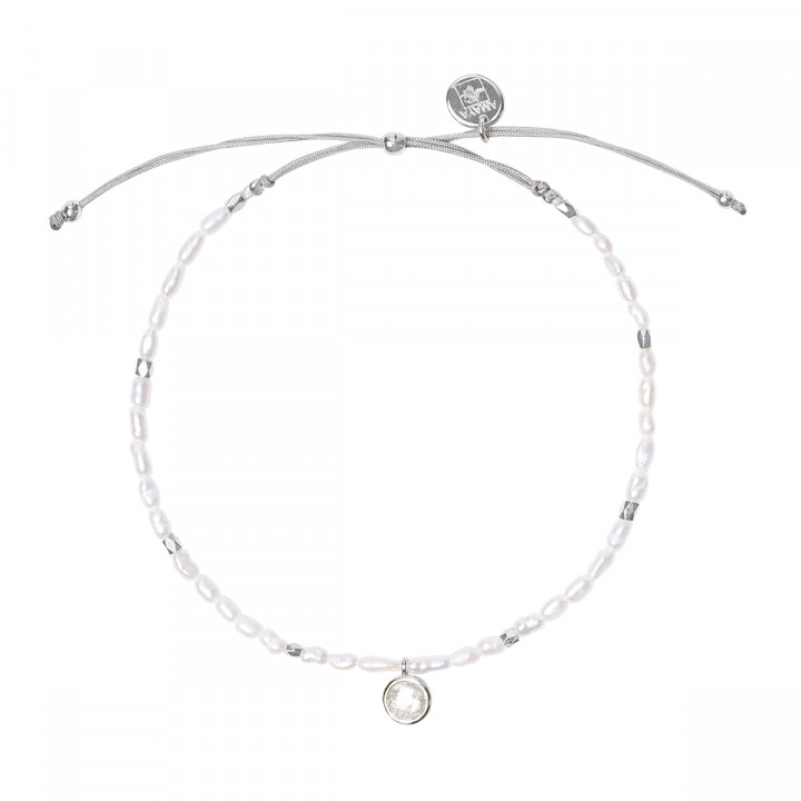 925 Silver Silky thread bracelet with nacre beads & Moonstone medal