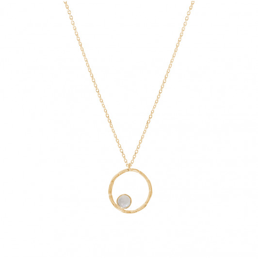 Striated ring & moonstone chain necklace