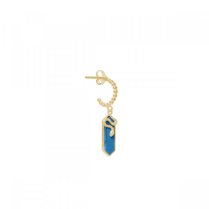 Gold-plated [Single] Turquoise & snake hoop earring