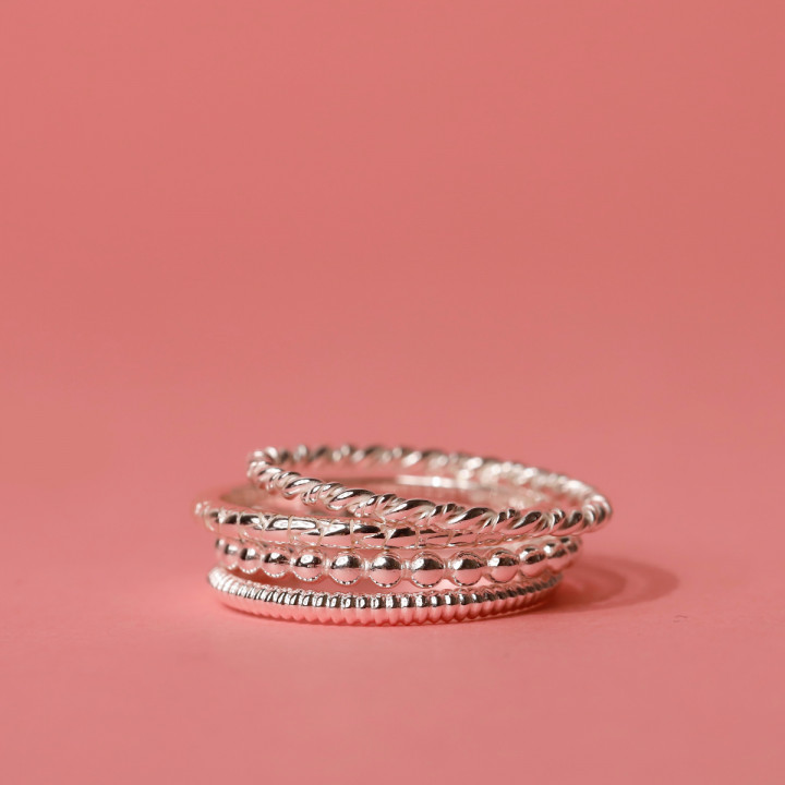 925 SIlver thin ring with small beads