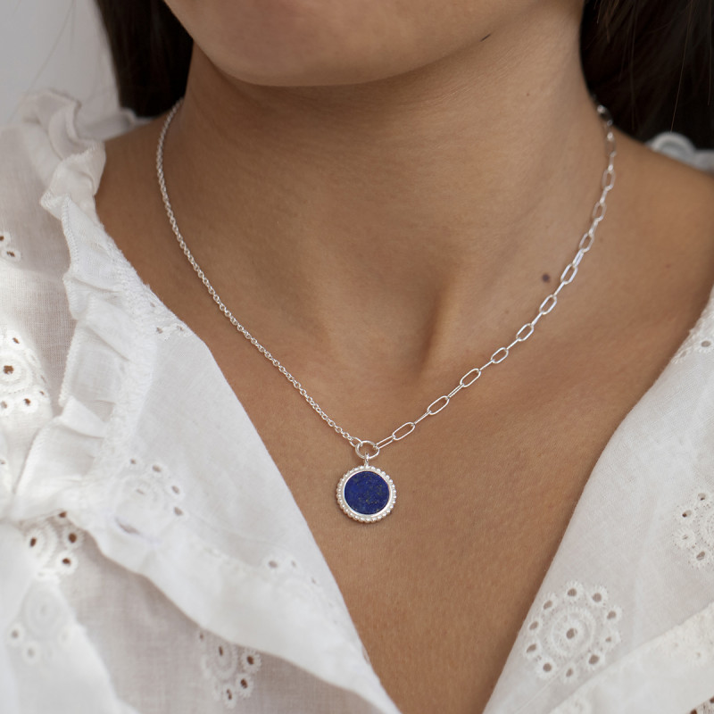 925 Silver large link chain necklace with beaded Lapis Lazuli medal
