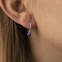 925 Silver hoop earrings with zircons & Lapis Lazuli small star medal