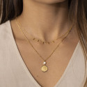 Gold-plated chain necklace with 5 hanging rods