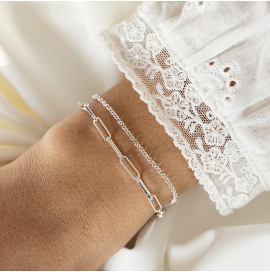 Two-row chain bracelet with large links