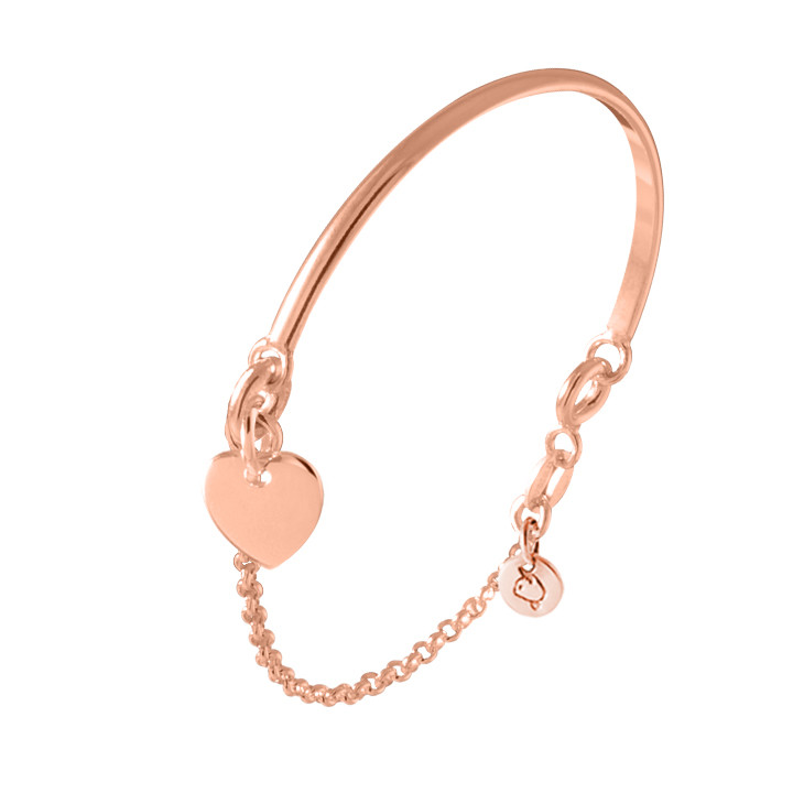 Rose gold-plated half bangle and chain bracelet with heart medal for children