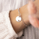 925 Silver half bangle and thick chain bracelet with hollowed heart medal