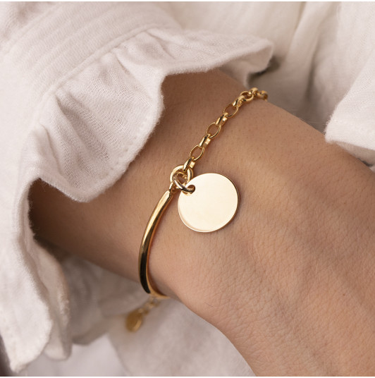 Half bangle and thick chain bracelet with medal