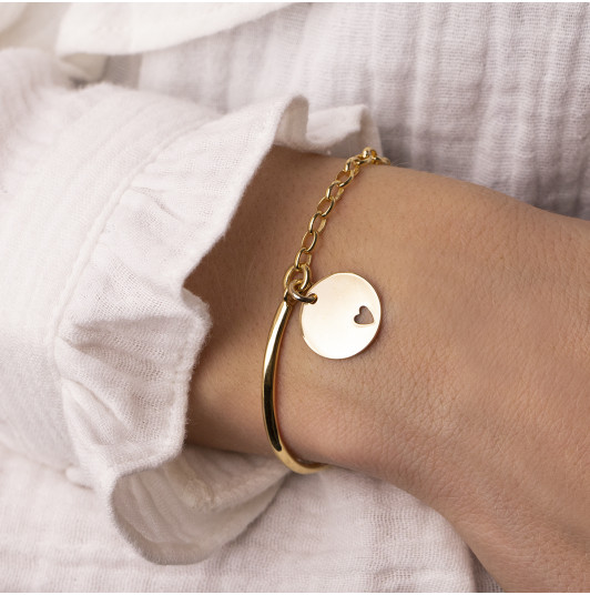 Half bangle and thick chain bracelet with hollowed heart medal