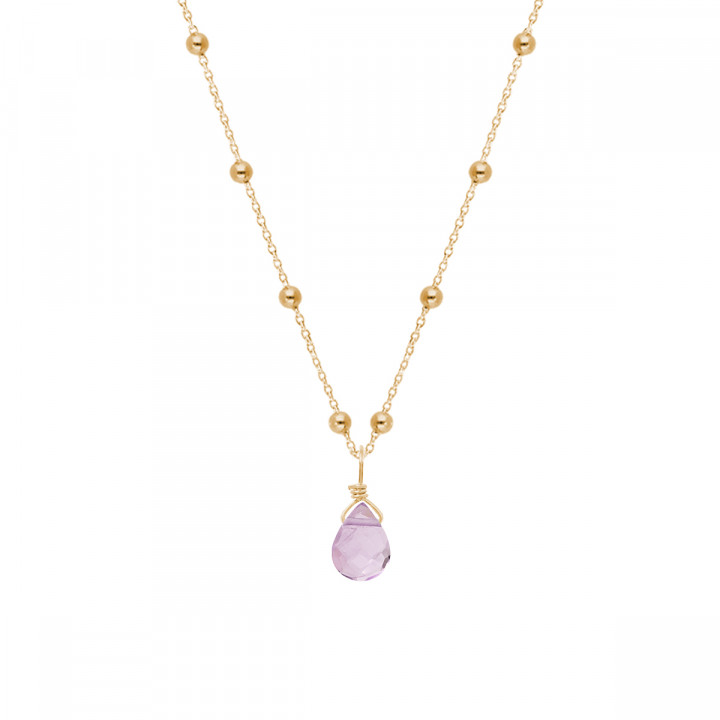 Gold-plated beaded chain necklace & drop gemstone