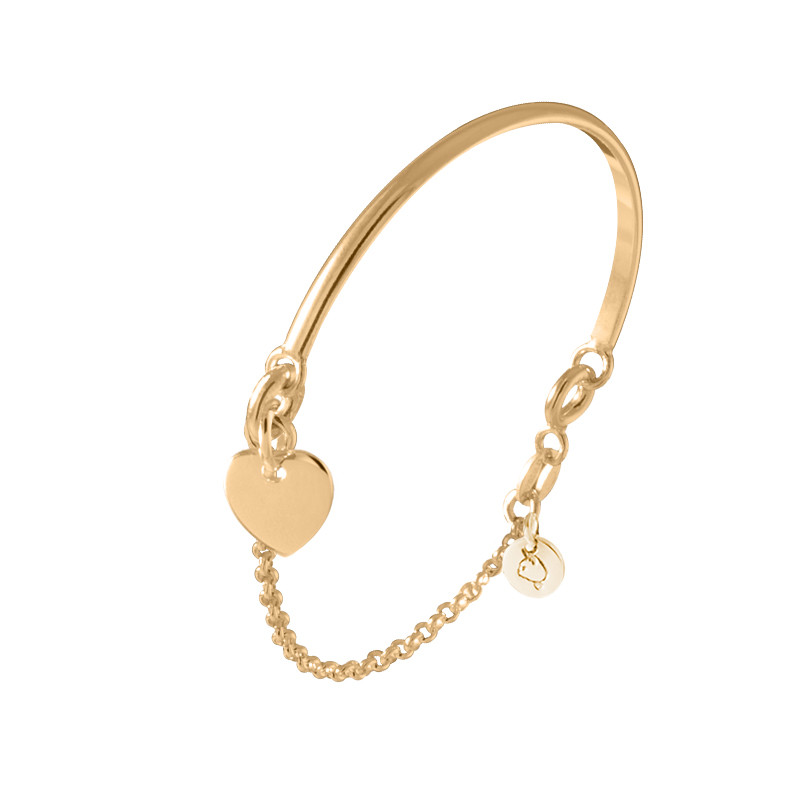 Half bangle and chain bracelet with heart medal