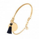 Gold-plated half bangle and chain bracelet with medal and pompom
