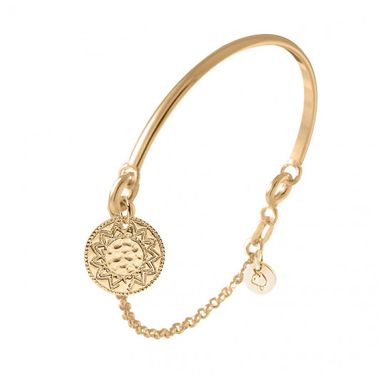 Half bangle and chain bracelet with Solar engraved medal