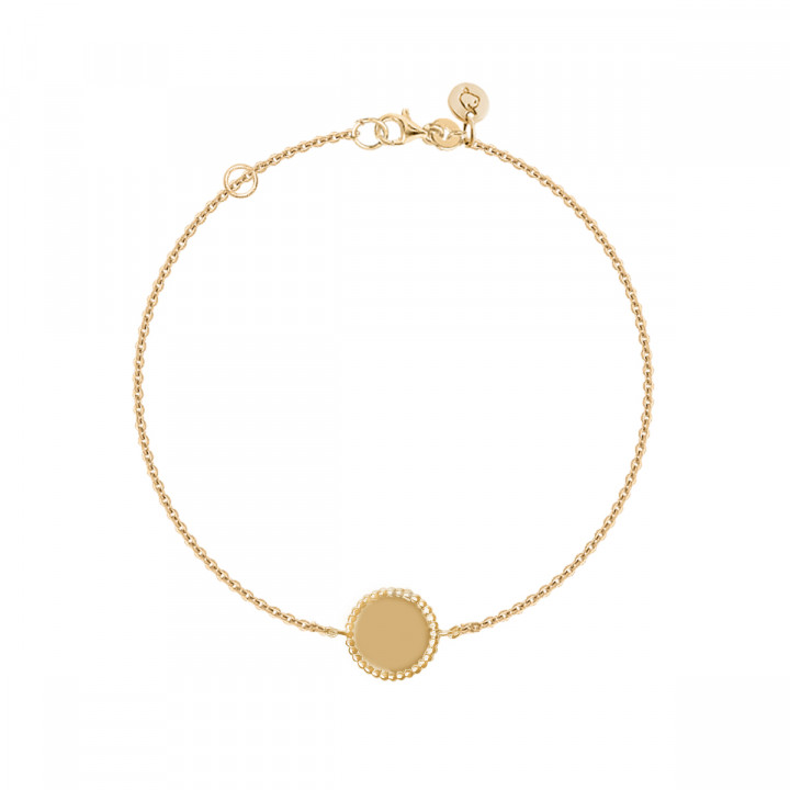 Gold-plated chain bracelet with beaded medal