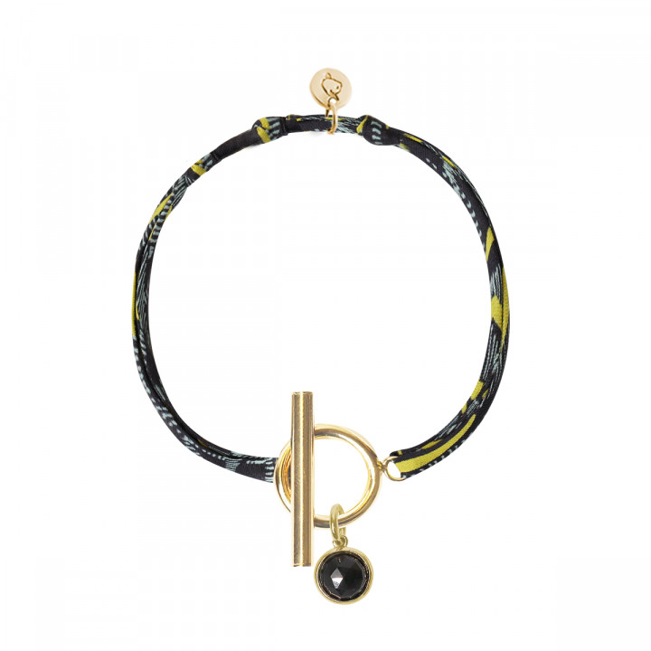 Gold-plated liberty bracelet with T-toggle & gemstone