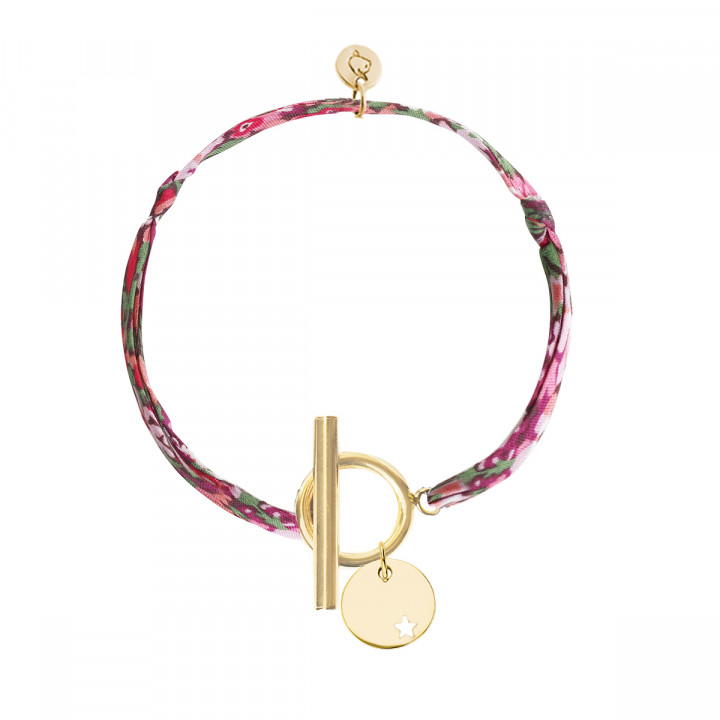 Gold-plated liberty bracelet with T-toggle & small hollowed heart medal