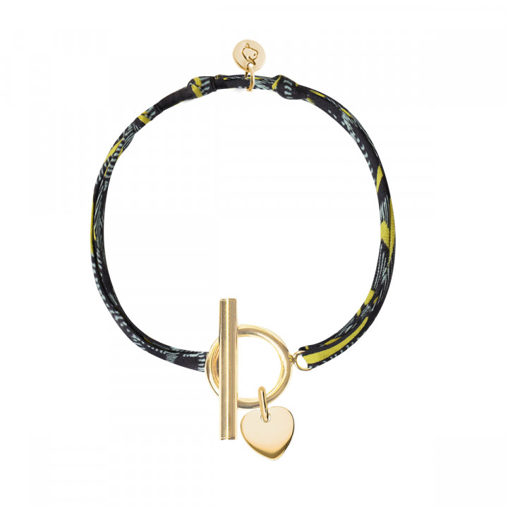 Gold-plated liberty bracelet with T-toggle & small heart medal