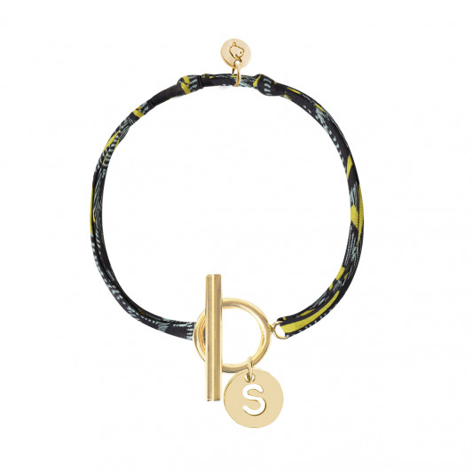 Liberty bracelet with T-toggle & hollowed initial medal