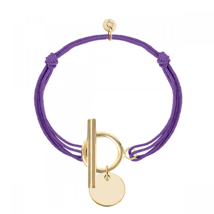 Gold-plated tie bracelet with T-toggle & medal