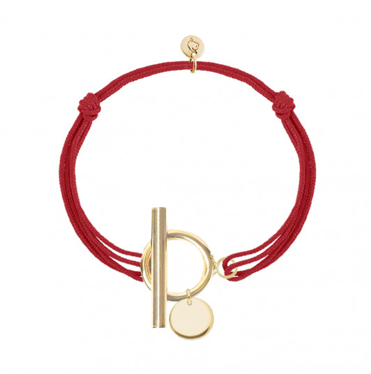 Tie bracelet with T-toggle & small curved medal