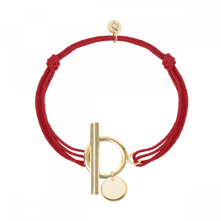 Gold-plated tie bracelet with T-toggle & small curved medal