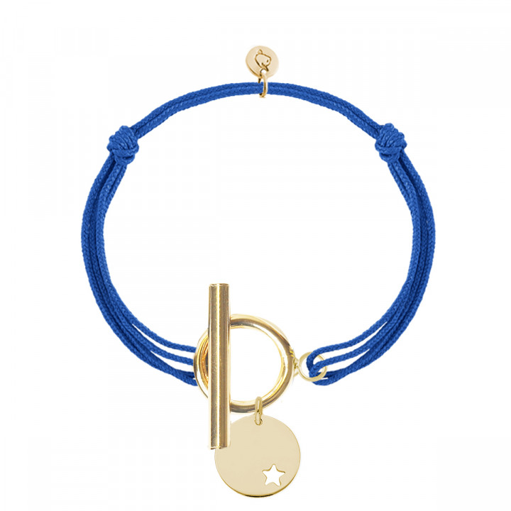 Gold-plated tie bracelet with T-toggle & small hollowed heart medal