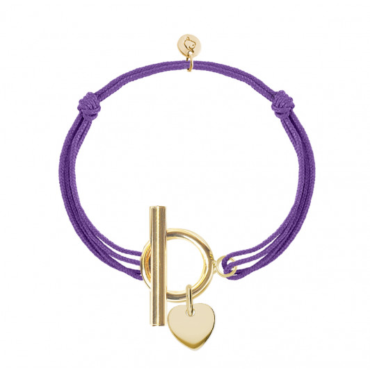 Tie bracelet with T-toggle & small heart medal