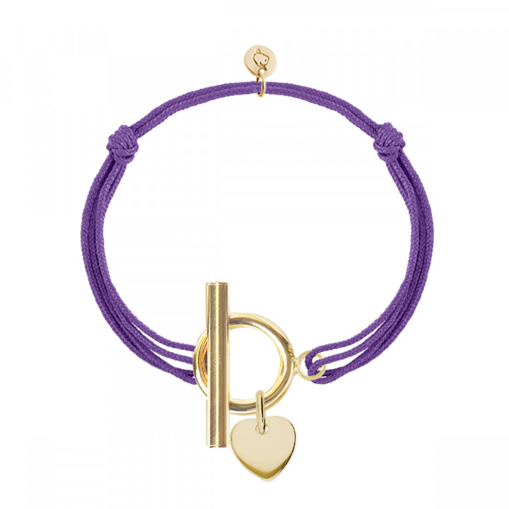 Gold-plated tie bracelet with T-toggle & small heart medal