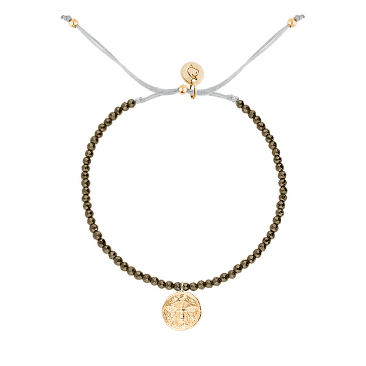 Gold-plated tie bracelet with pyrite gemstones beads & bee medal