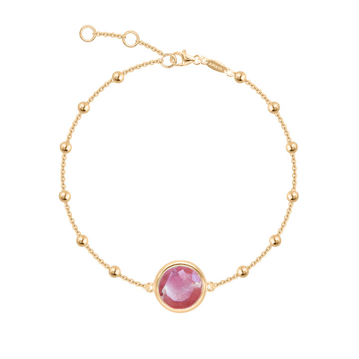 Gold-plated beaded chain bracelet with labradorite medal