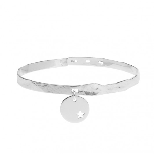 Sand lock bangle with small hollowed star medal