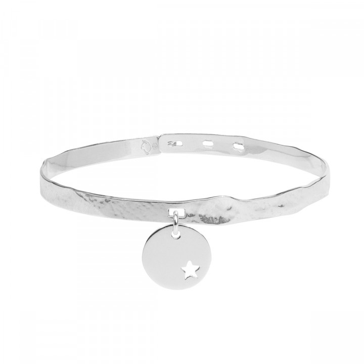 925 Silver sand lock bangle with small hollowed star medal