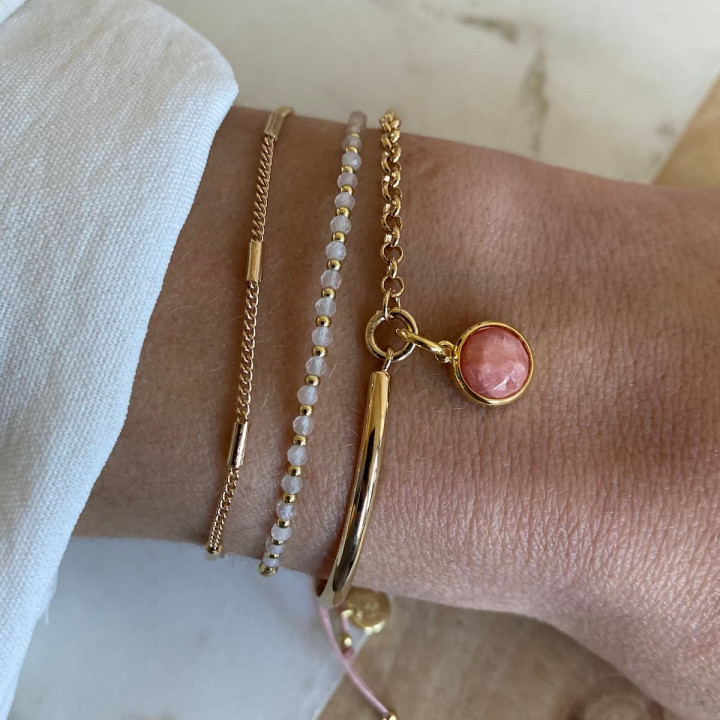 Gold-plated half bangle and chain bracelet with gemstone medal