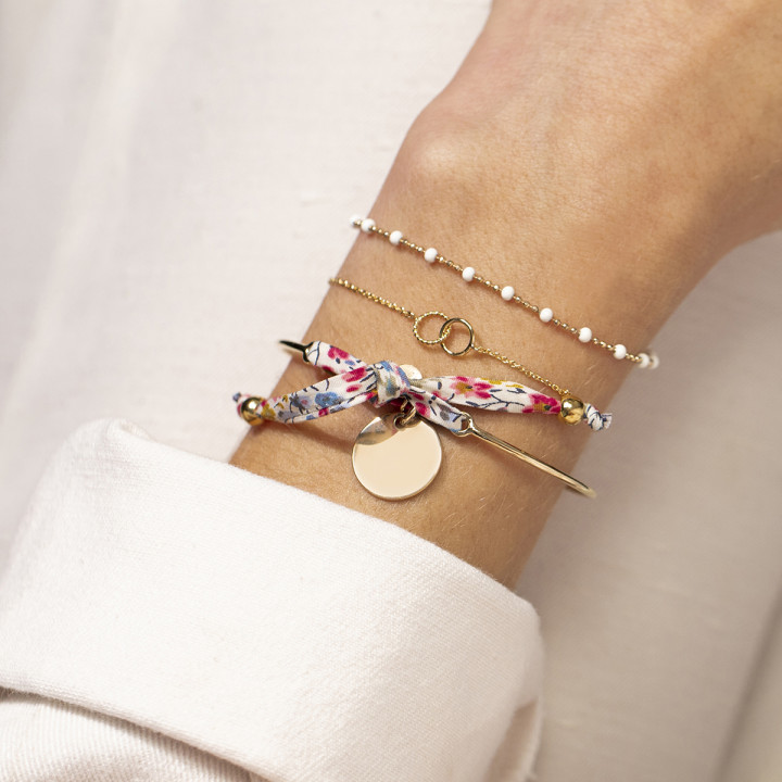 Liberty gold-plated bangle bracelet with medal